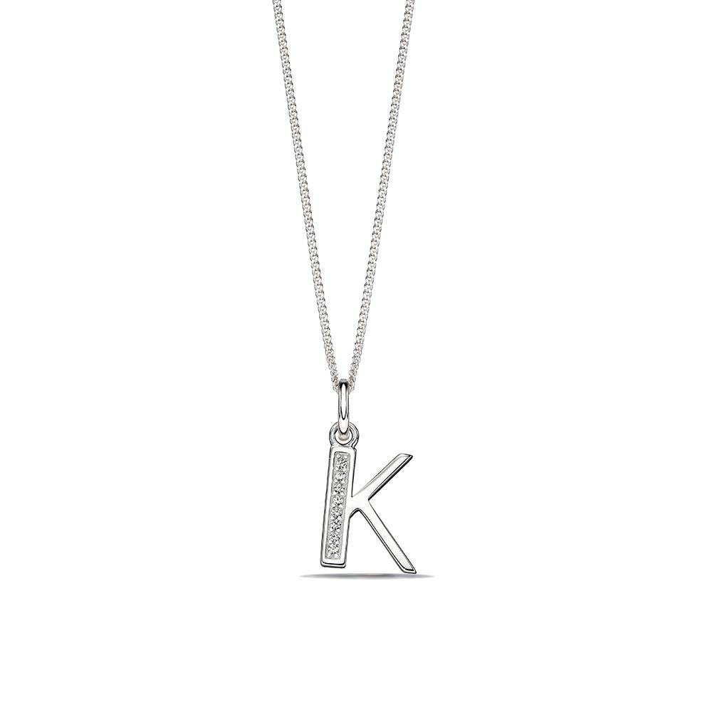 WHITE GOLD ART DECO INITIAL 'K' NAME DIAMOND PENDANT NECKLACE