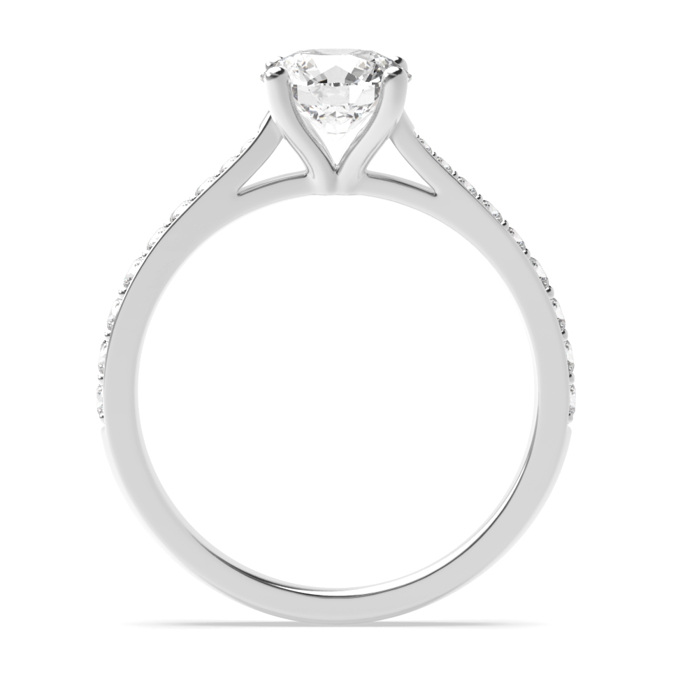 Round Shoulder Set Side Diamond Engagement Ring