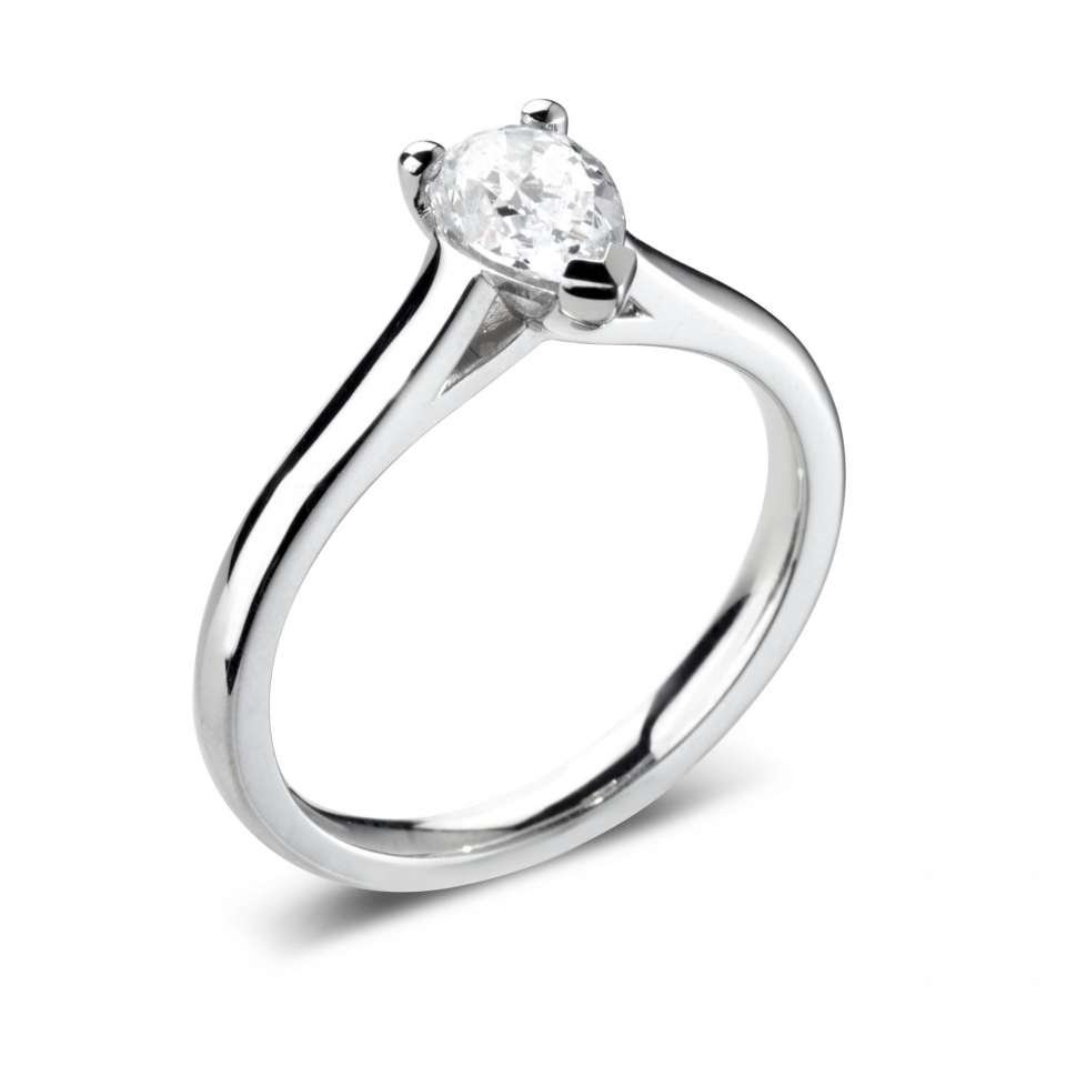 Pear Solitaire Engagement Rings in High Set Diamond