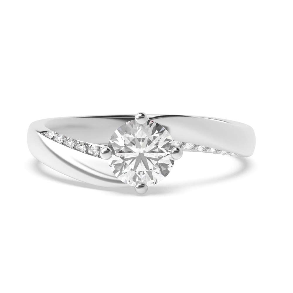 Twist Prong Set Round Side Stone Diamond Engagement Ring