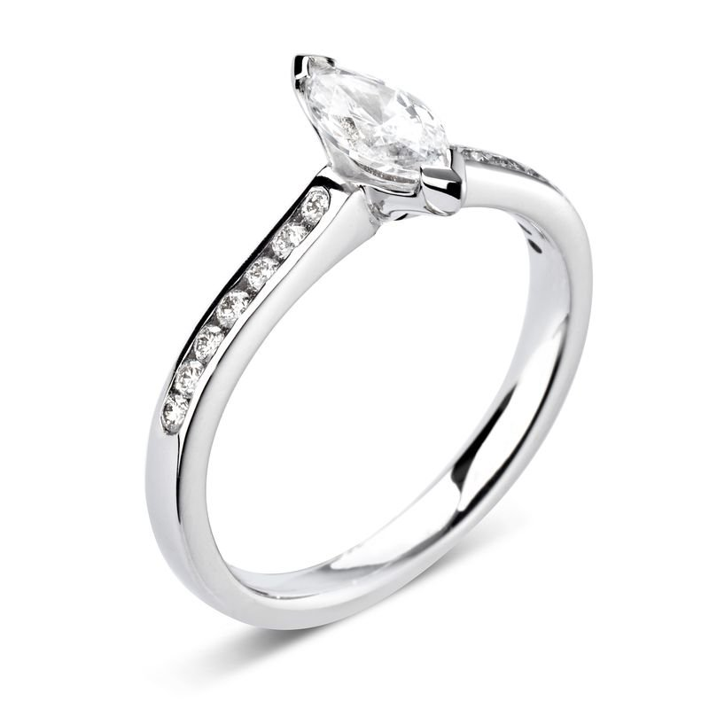 Marquise Shoulder Set Accented Side Diamond Engagement Ring