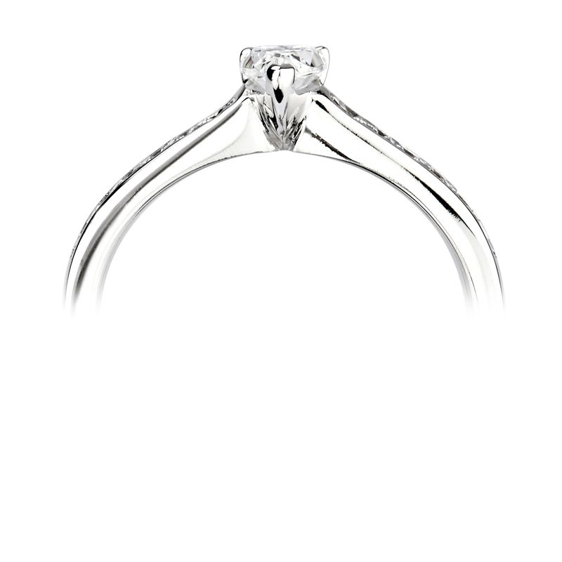 Prong Setting Pear & Round Shoulder Set Accented Side Diamond Engagement Ring
