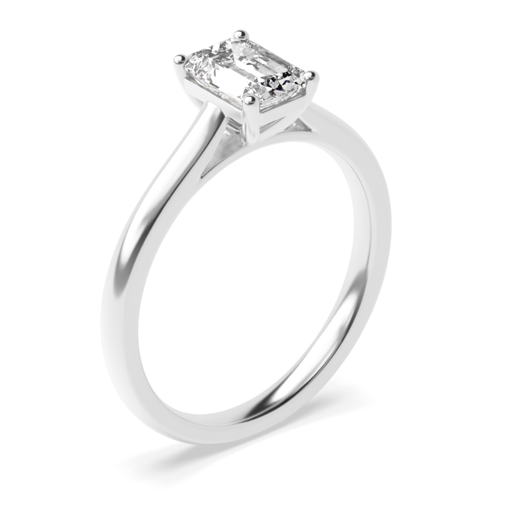 4 Prong Setting Emerald Solitaire Diamond Engagement Ring
