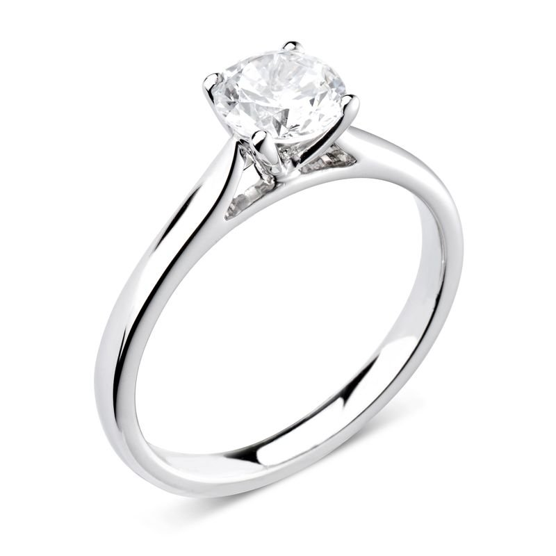 Prong Setting Round Cut Solitaire Diamond Engagement Rings In White Gold