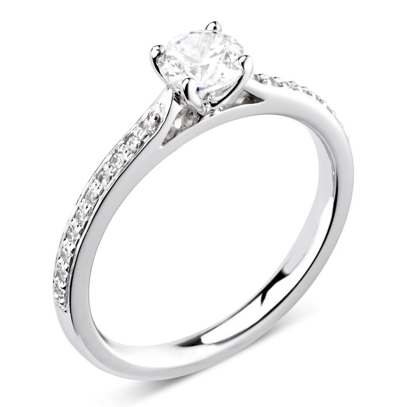 Prong Setting Round Side Stone Diamond Engagement Ring