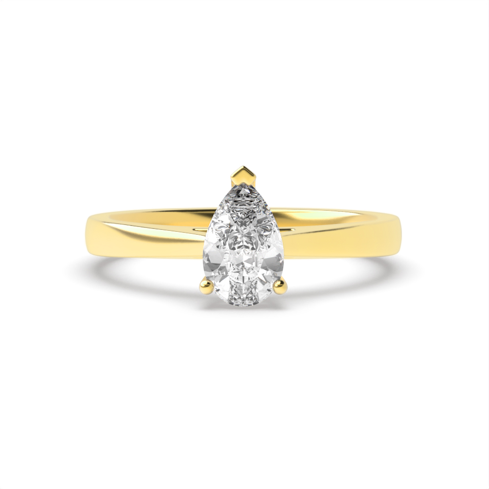 Pear Solitaire Engagement Rings in Delicate Band Diamond