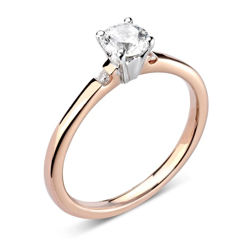 Prong Setting Round Side Diamond Engagement Ring