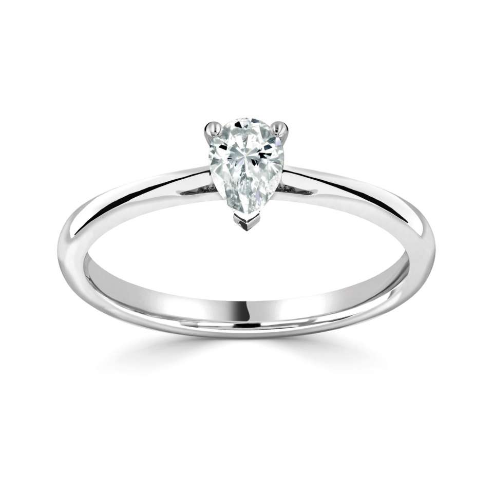Pear Solitaire Engagement Rings in Petit Band Diamond