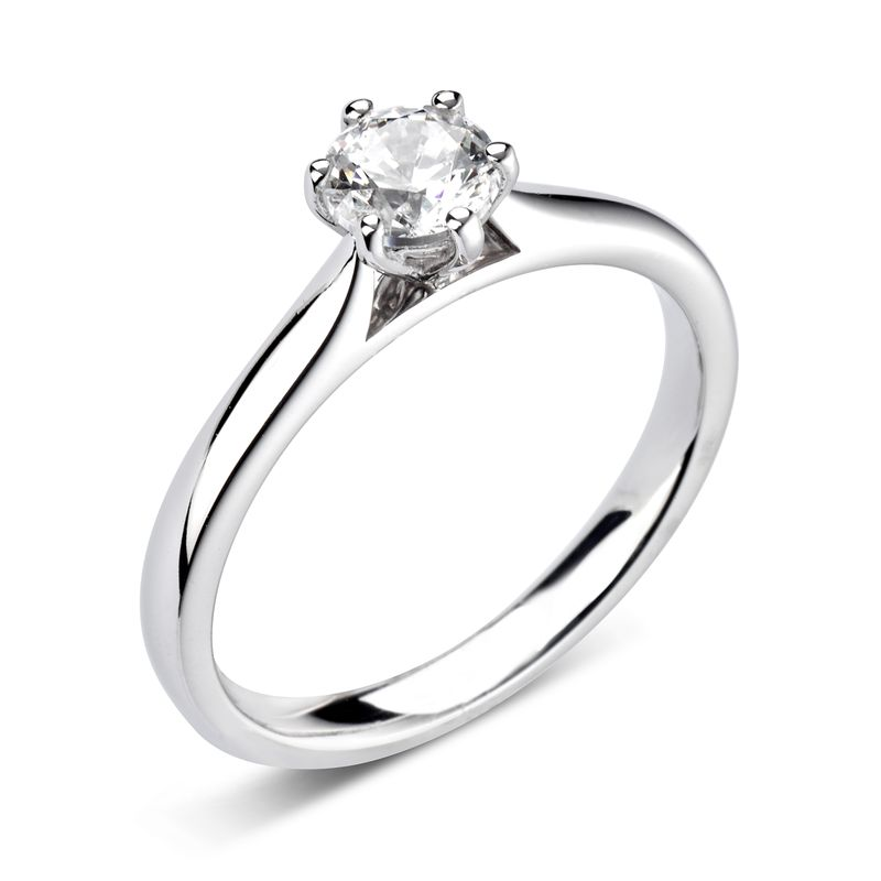 Round Cut Solitaire Diamond Engagement Rings In White Gold / Platinum 6 Claw Set