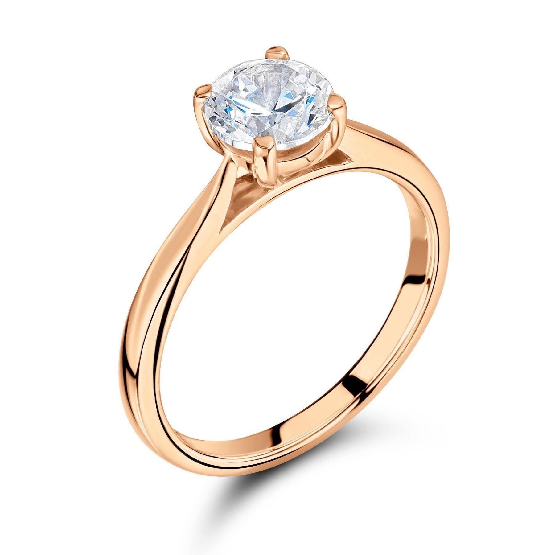 Prong Setting Round Solitaire Diamond Engagement Rings Yellow Gold