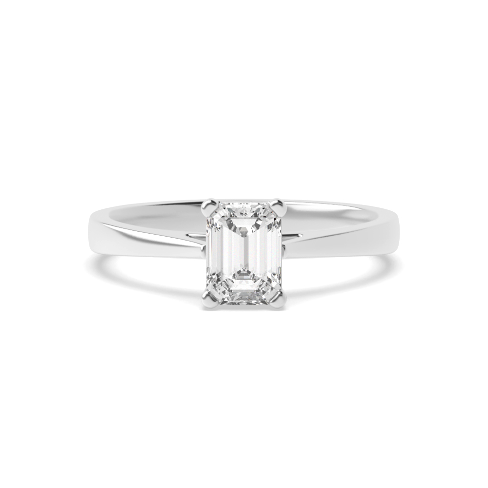 4 Prong Set Emerald Solitaire Diamond Engagement Ring