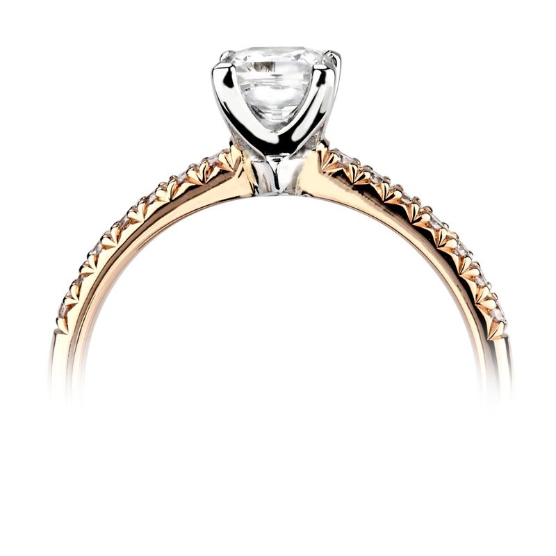 Prong Setting Princess & Round Side Diamond Engagement Ring