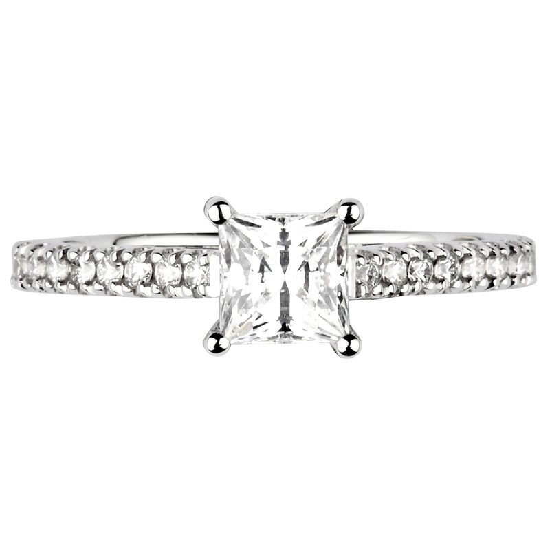 Princess Shoulder Set Accented Side Diamond Engagement Ring