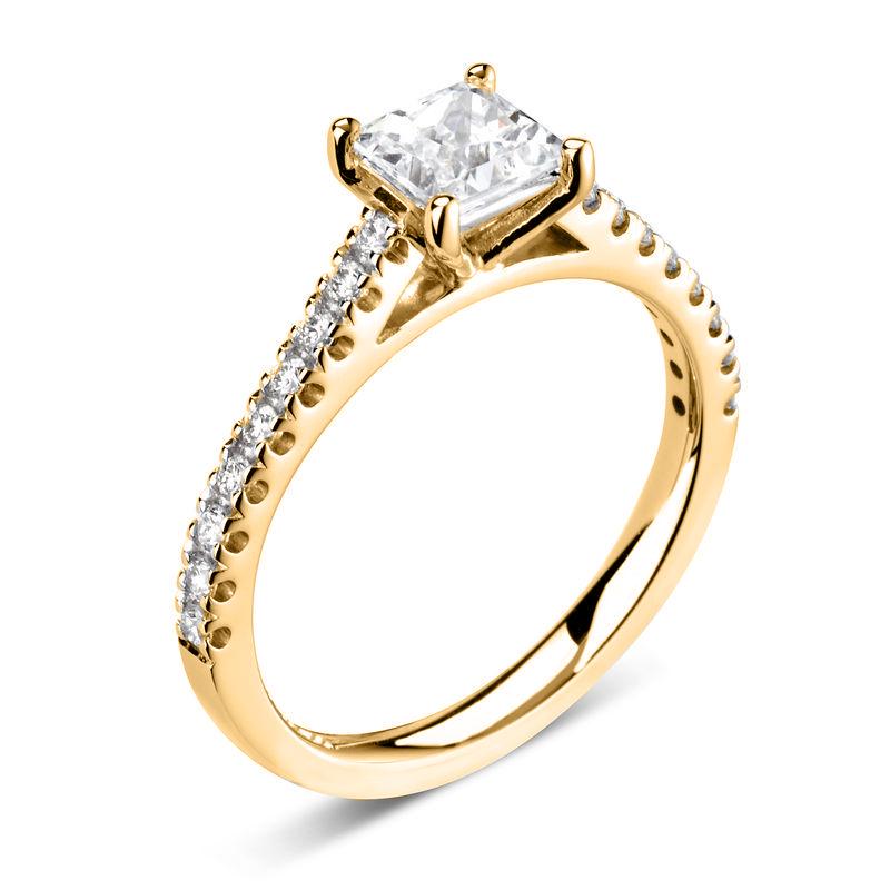 Princess Shoulder Set Accented Side Diamond Engagement Ring