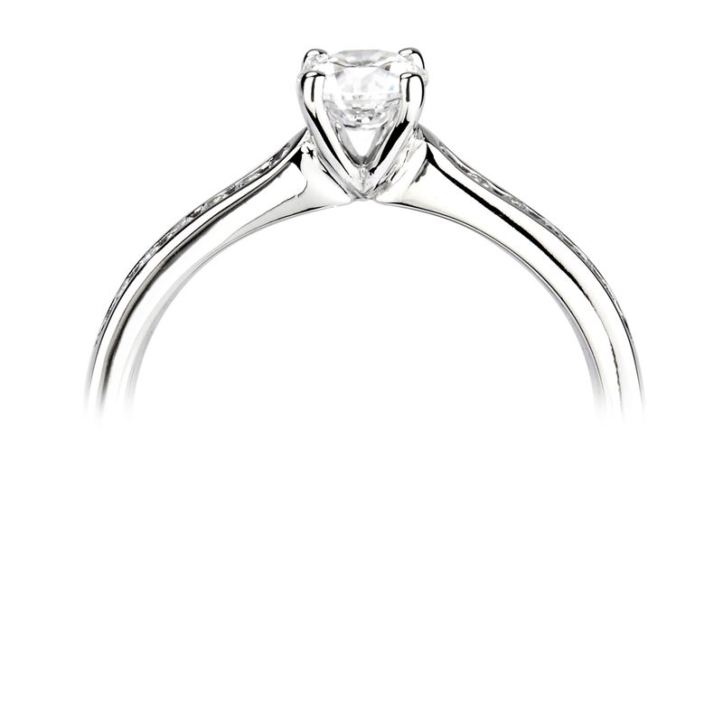 Round Shoulder Set Accentred Side Diamond Engagement Ring