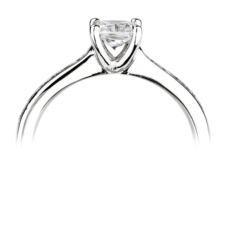 Princess Shoulder Set Accented Side Diamond Engagement Ring 4 Prong Set