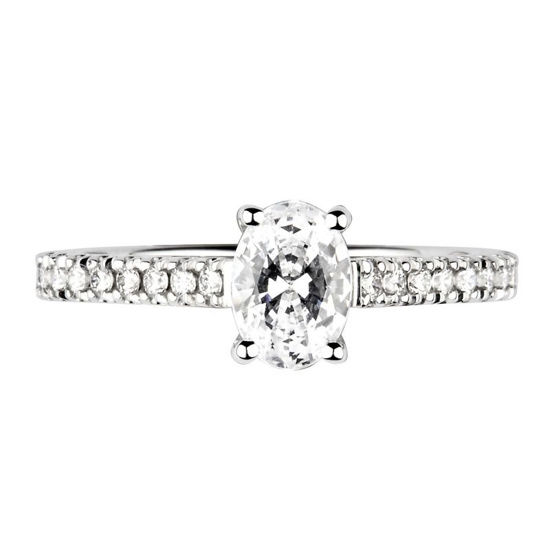Oval Shoulder Set Accented Side Diamond Engagement Ring