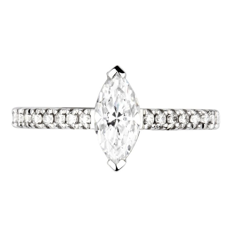 Prong Setting Marquise Side Stone Diamond Engagement Ring
