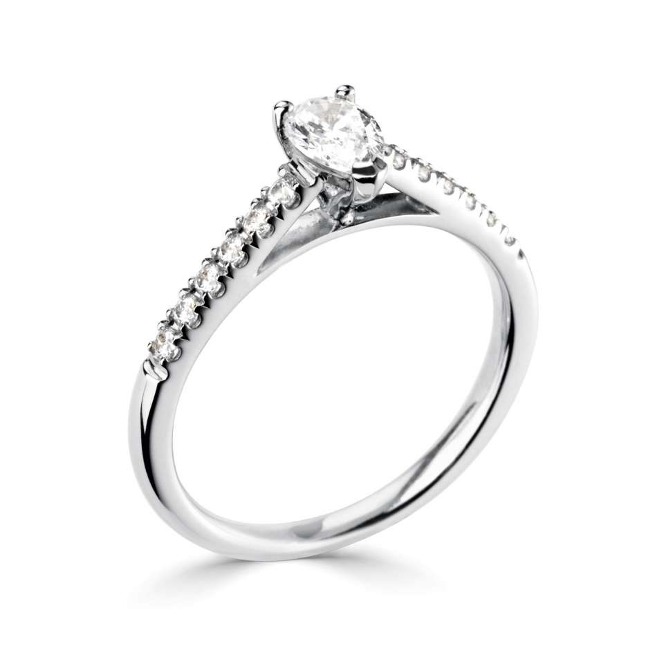 Pear Set Engagement Rings in Thin Sholder Set Diamond