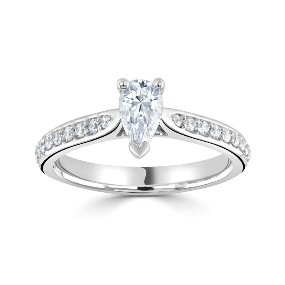 Pear Set Engagement Rings in Tapering Shoulder Set Diamond