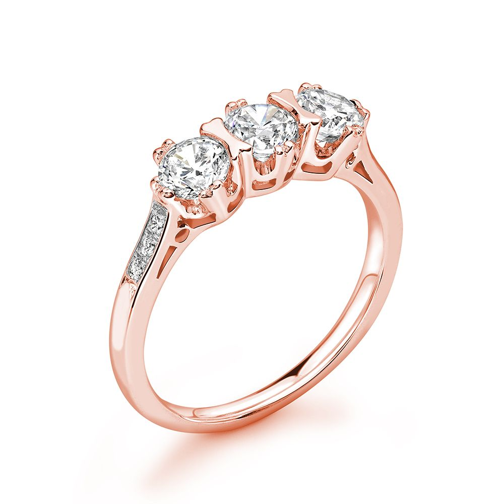 Vintage Style Round Three Stone Diamond Ring in  gold / Platinum