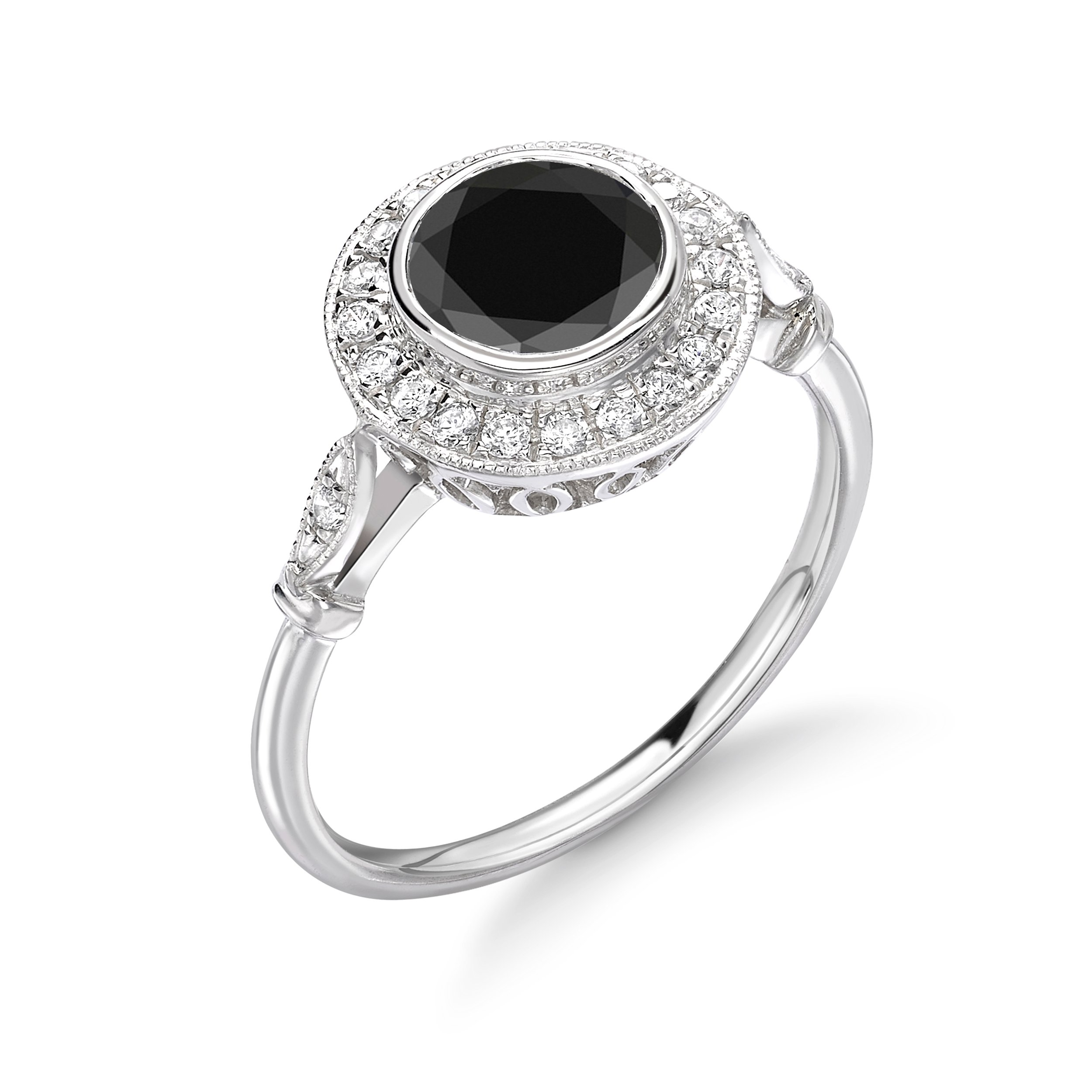 Bezel Set Vintage Style Halo Black Diamond Engagement Rings