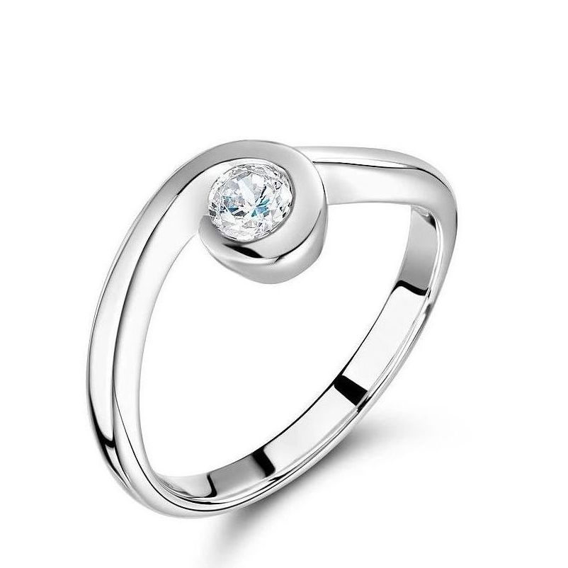 Swirl Shaped Bezel Set Round Solitaire Diamond Engagement Rings