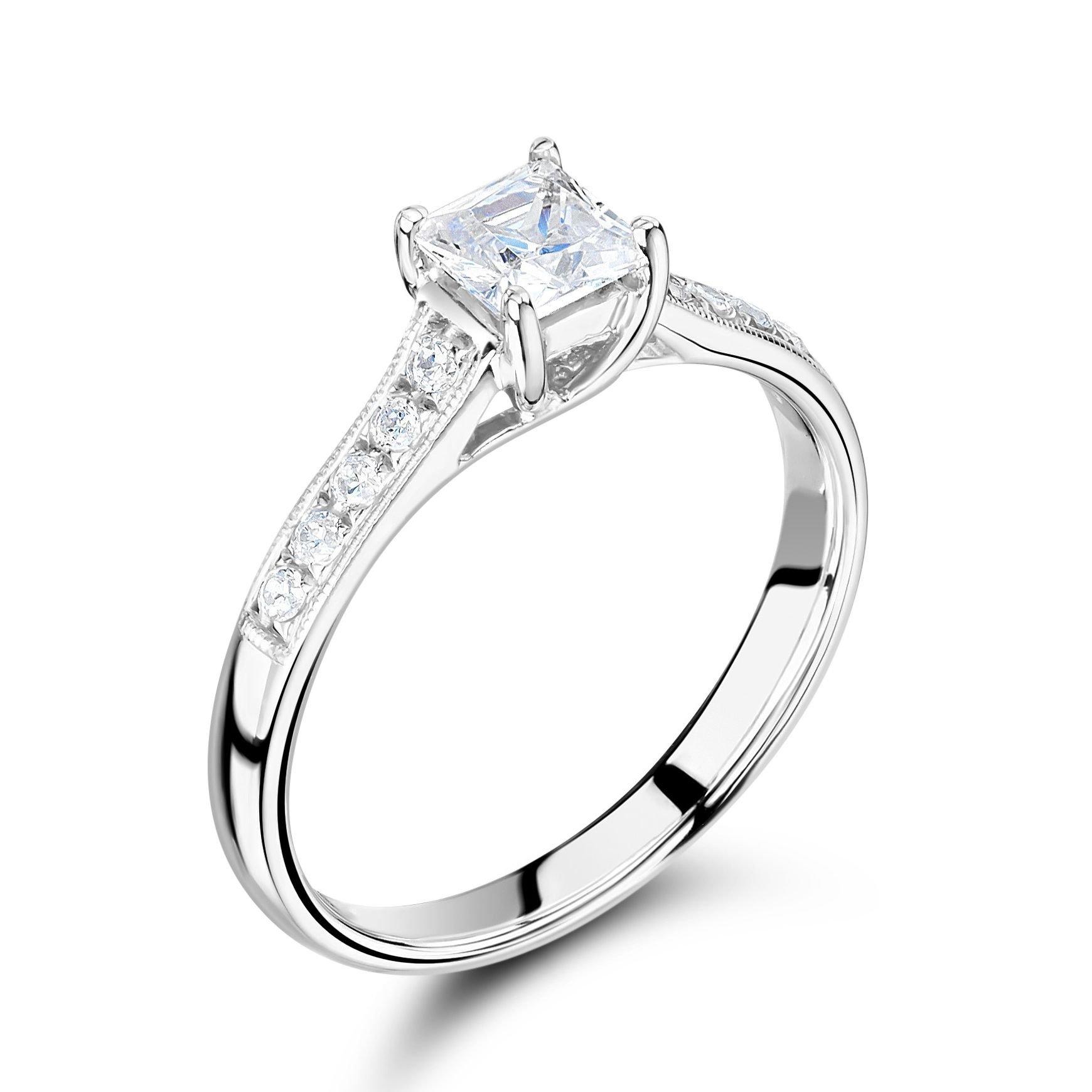Vintage Style Milligraing Shouder Set Side Stone Diamond Engagement Ring