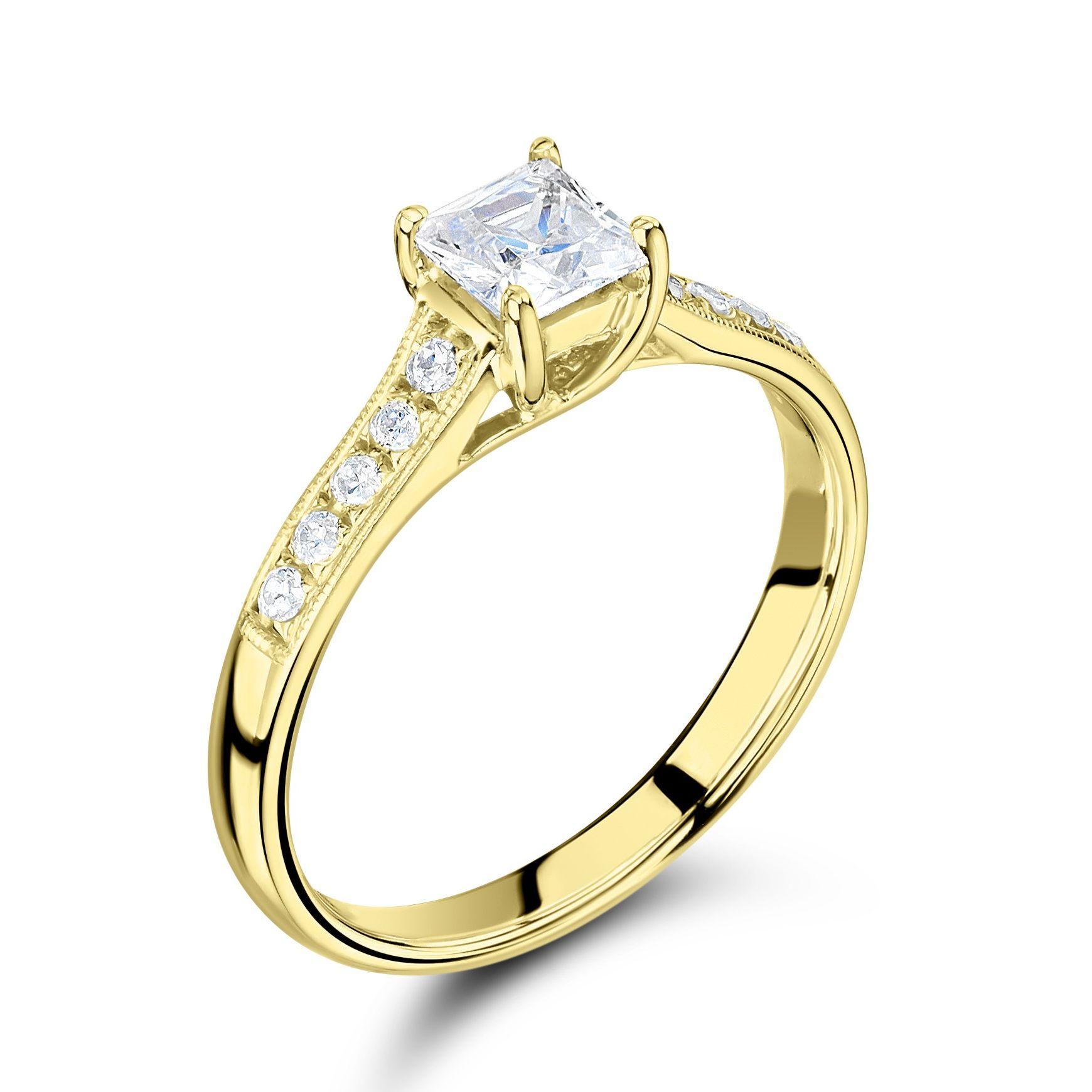 Vintage Style Milligraing Shoulder Set Side Stone Diamond Engagement Ring