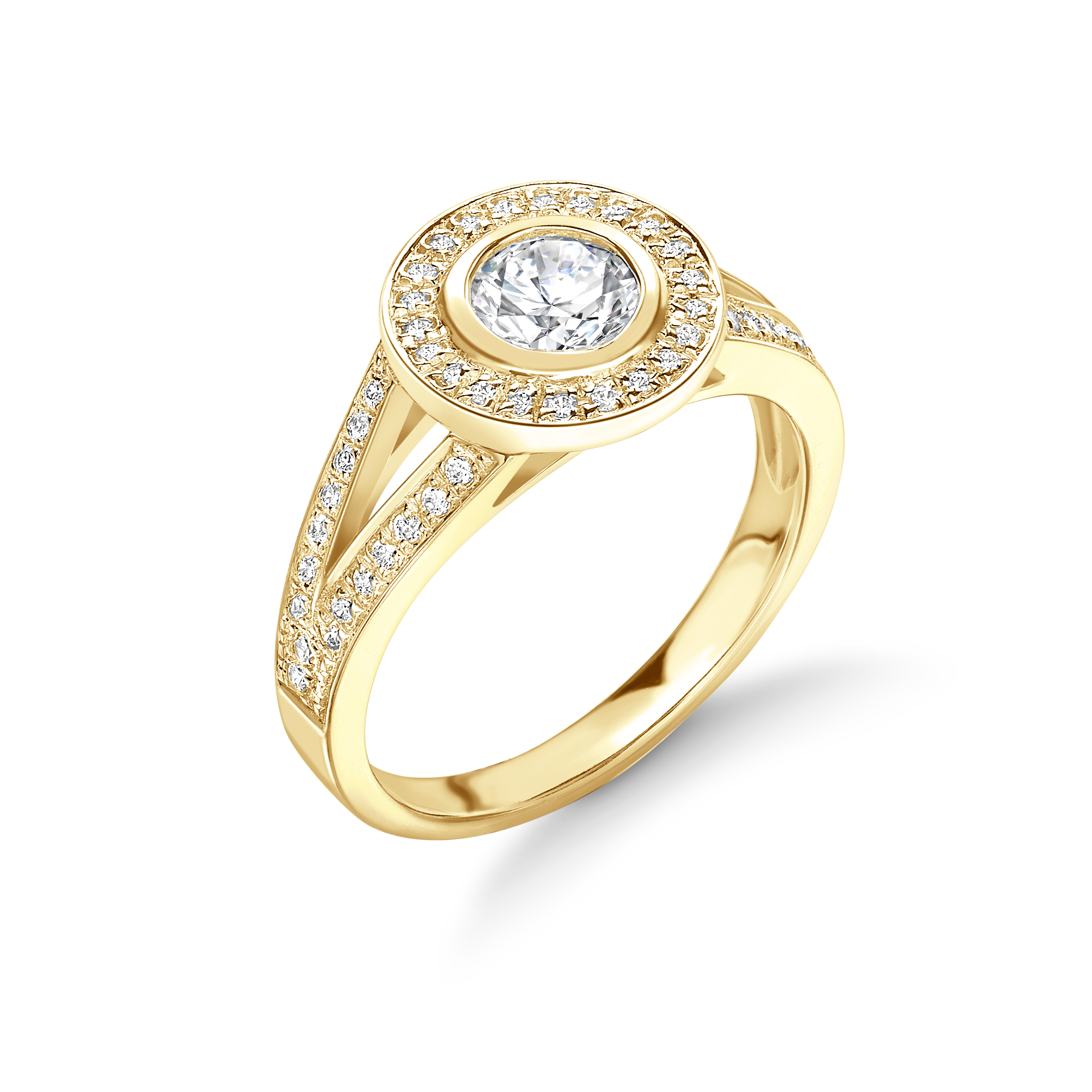 Bezel Setting Round Shape Split Shoulder Halo Diamond Engagement Rings