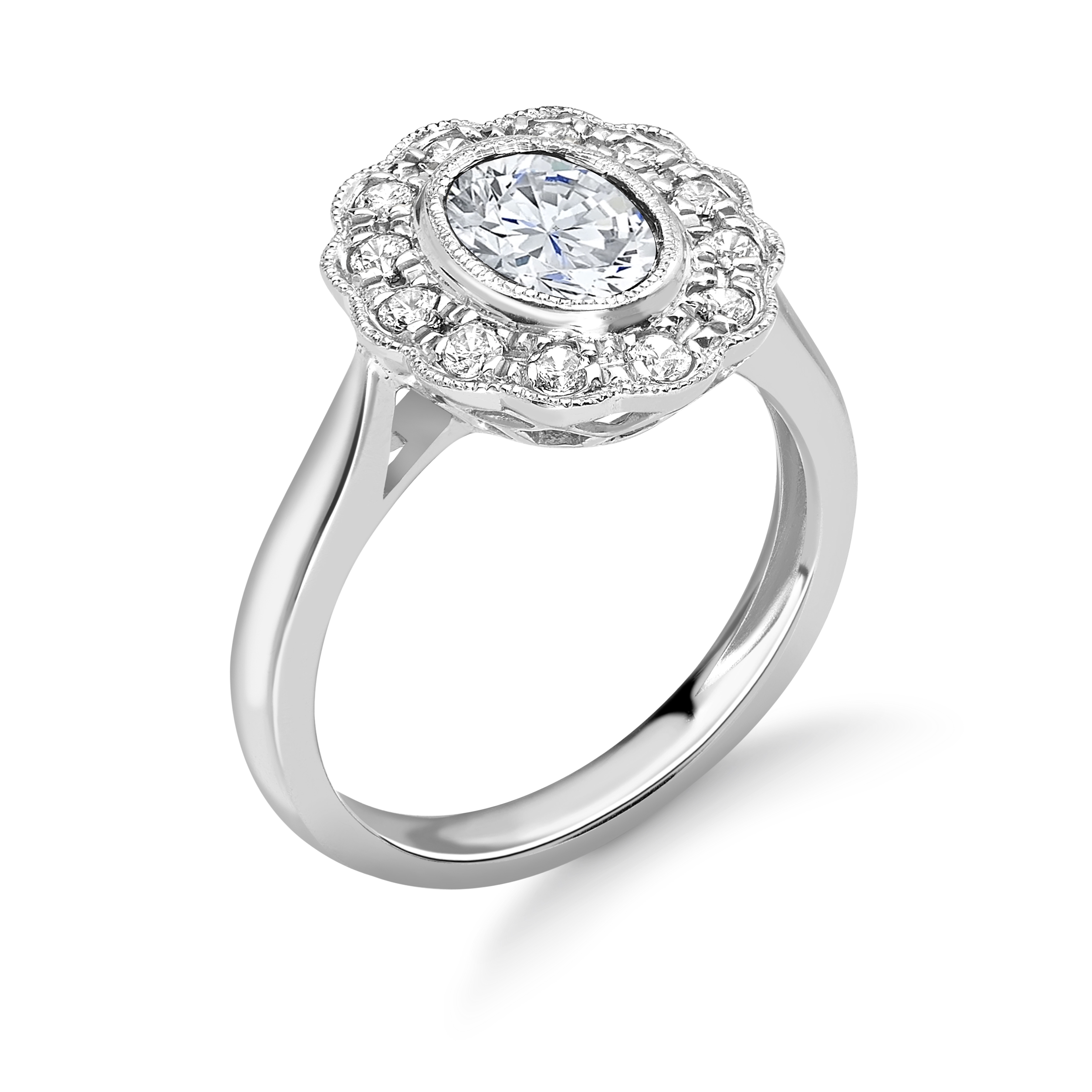 Bezel Setting Oval Shape Miligrain Halo Diamond Engagement Rings