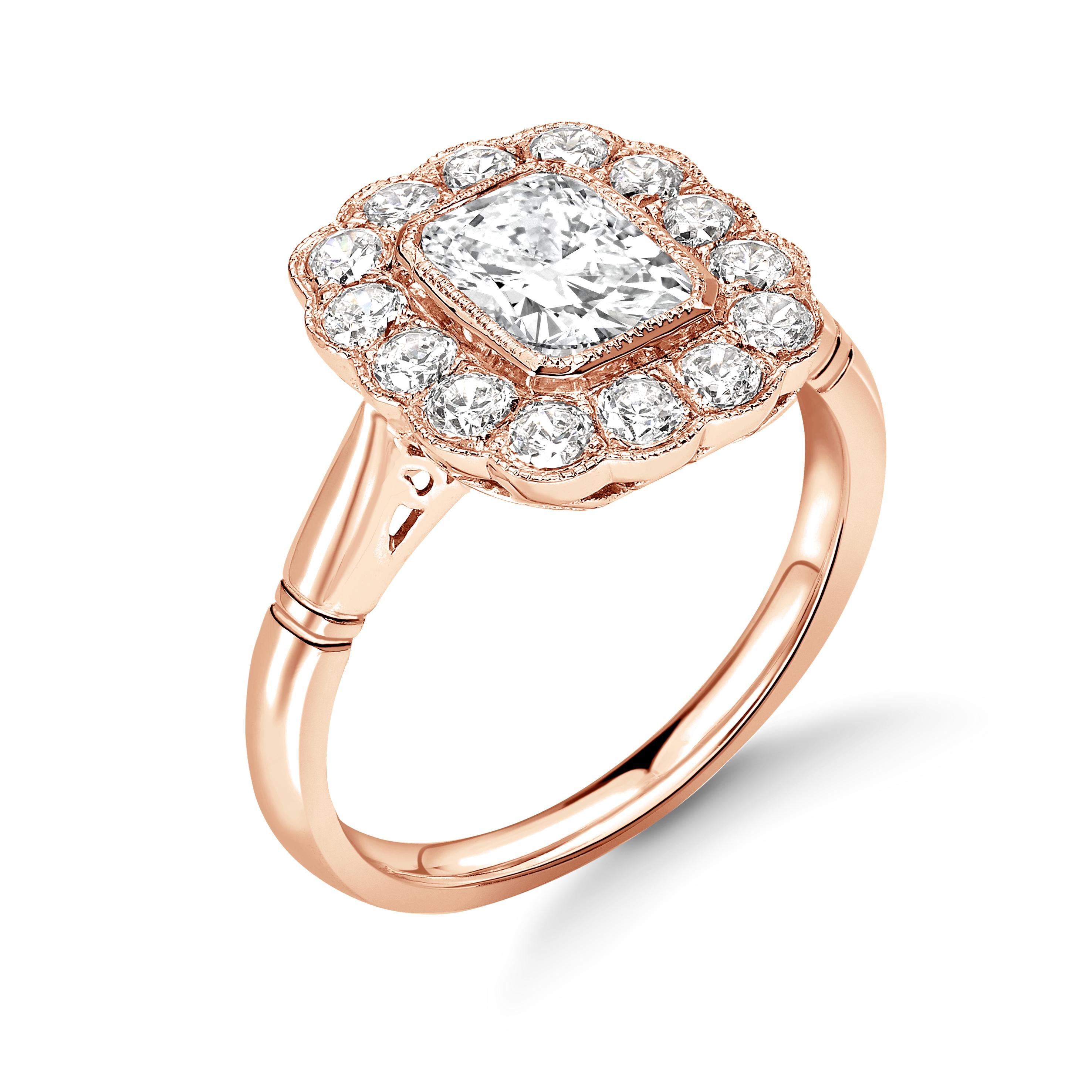 Bezel Setting Radiant Shape Miligrain Halo Diamond Engagement Rings
