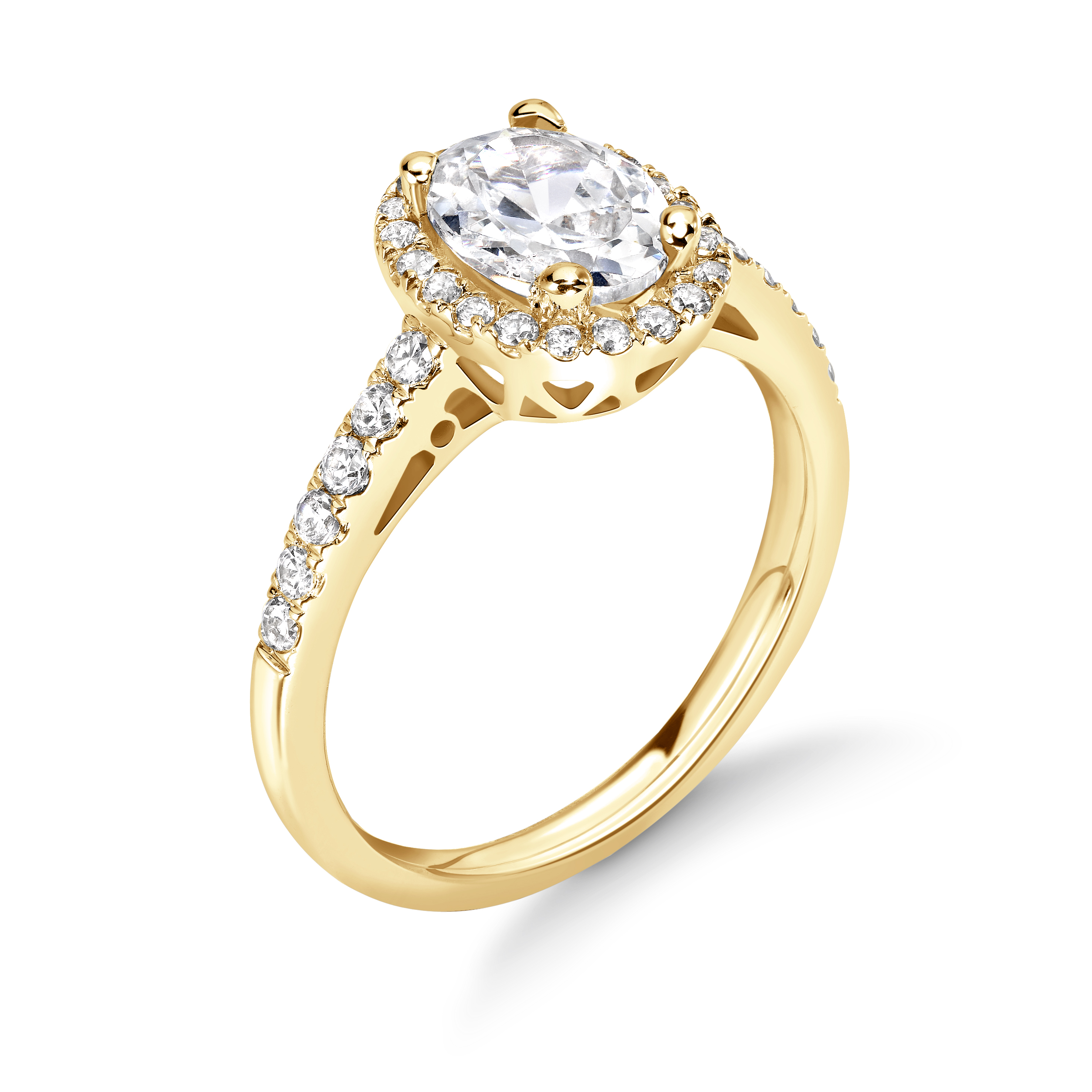 Prong Setting Oval Shape Vintage Halo Diamond Engagement Rings