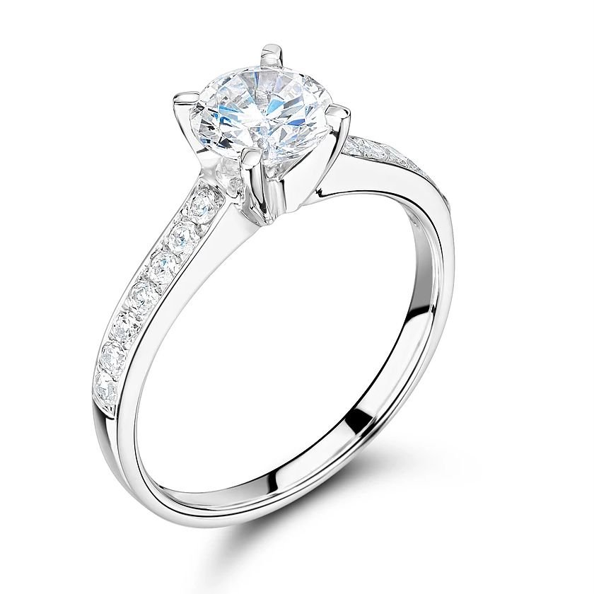 Side Stone On Shoulder Set Accented Diamond Engagement Ring White Gold / Platinum