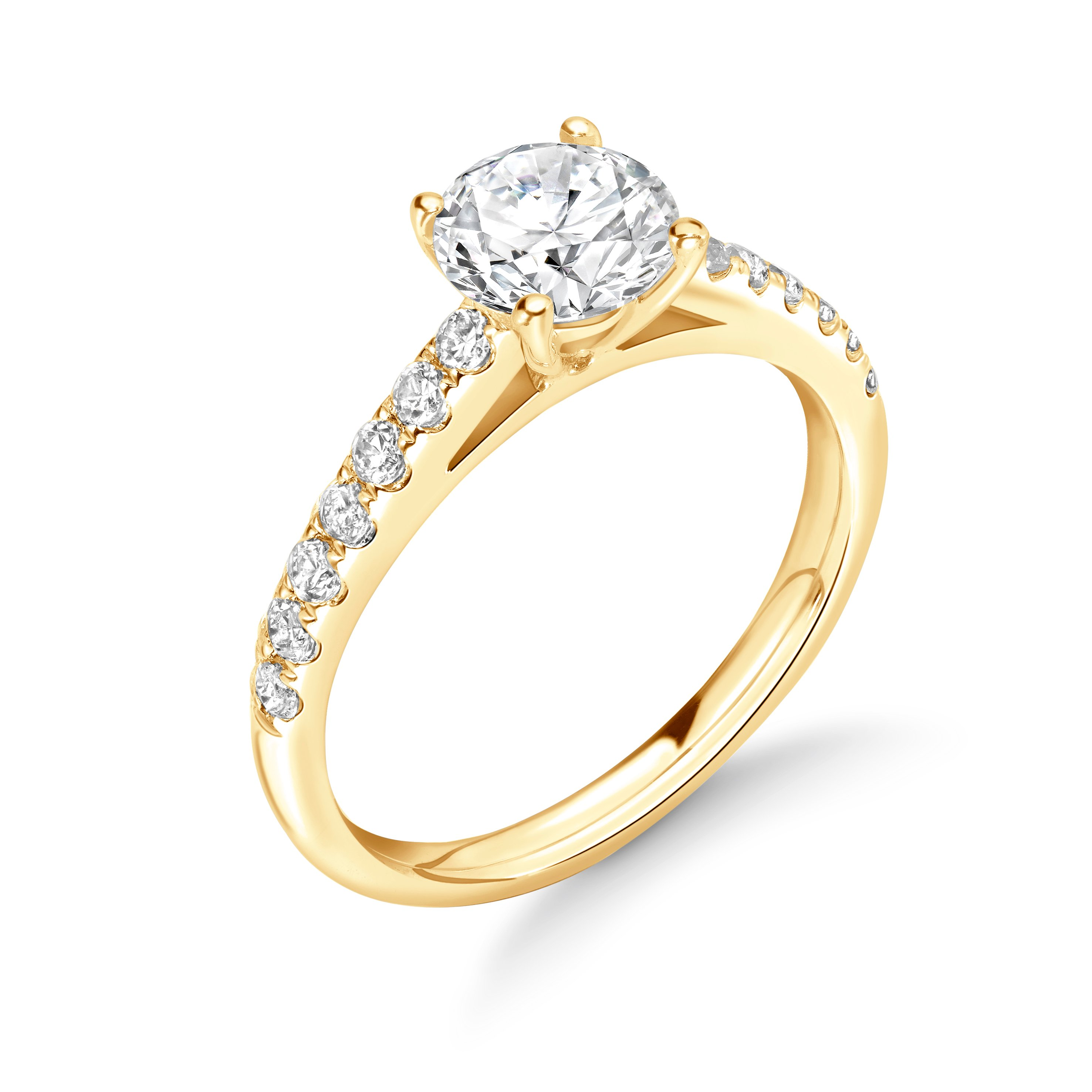 Side Stone On Shoulder Set Round Diamond Engagement Ring Rose / Yellow / White Gold