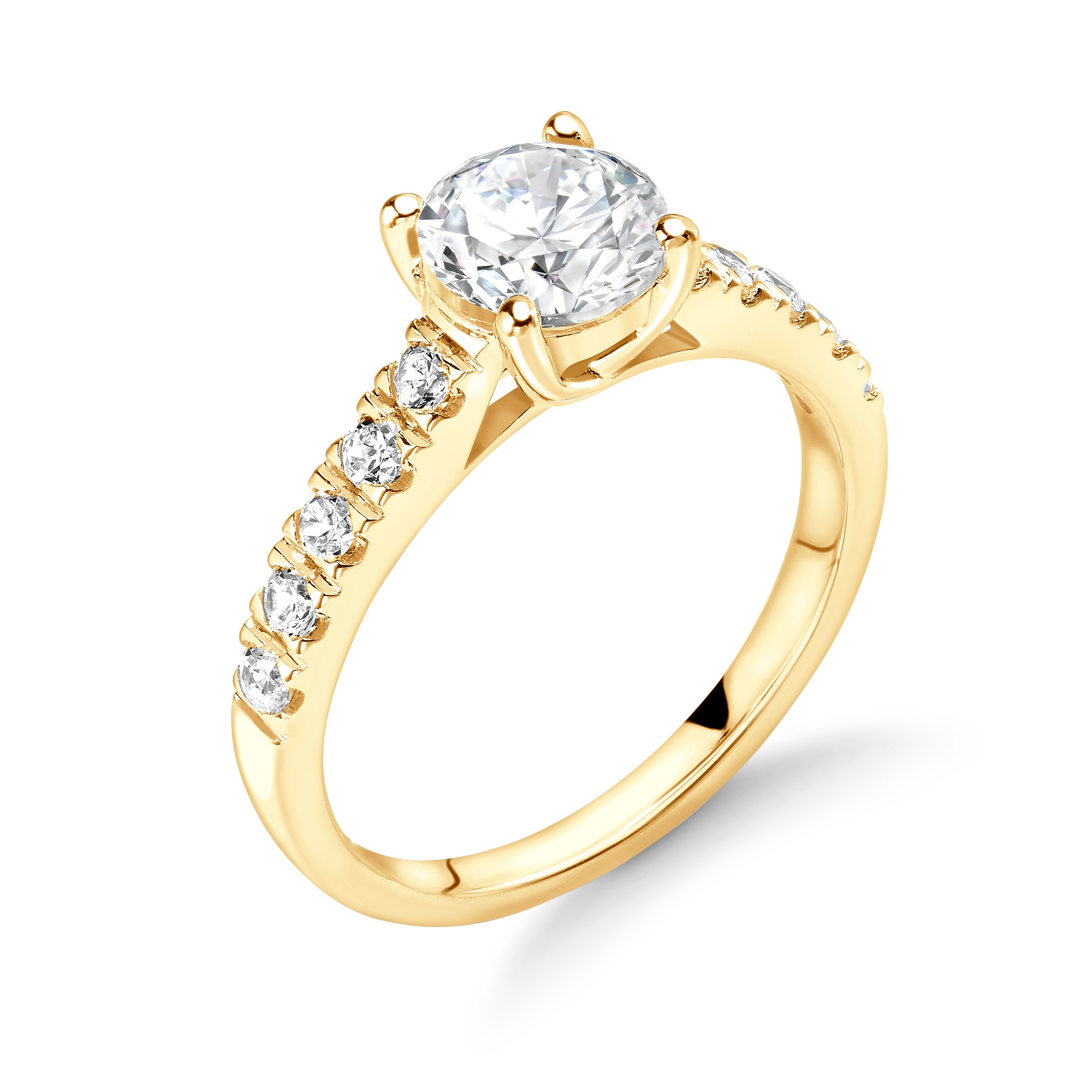 Claw Setting Round Diamond Engagement Rings in Yellow/White and Rose Gold