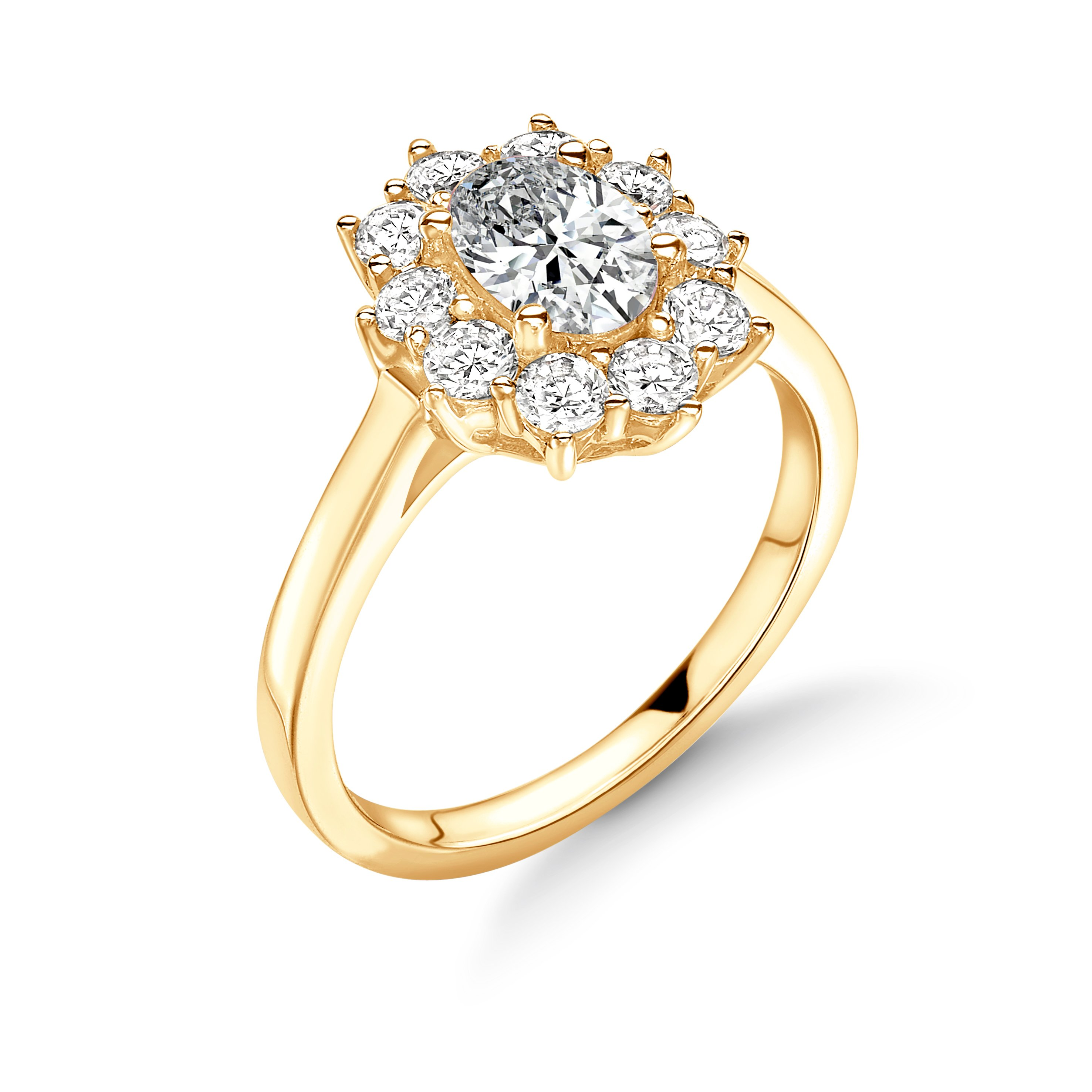 Prong Setting Oval Shape  Halo Diamond Engagement Rings in Gold & Platinum