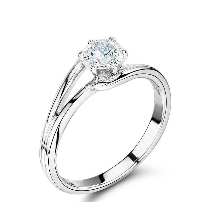 6 Prong Split Shank Solitaire Lab Grown Diamond Engagement Ring