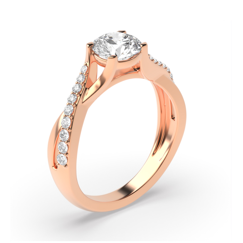 Crossing Over Shoulder Side Stone Diamond Engagement Rings