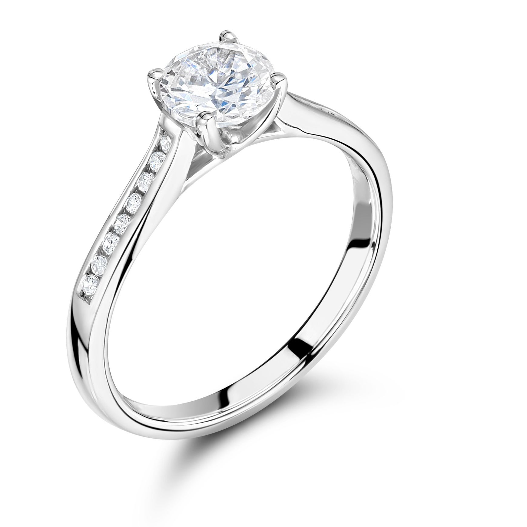 Side Stone Round Diamond Engagement Ring Shoulder Set Platinum
