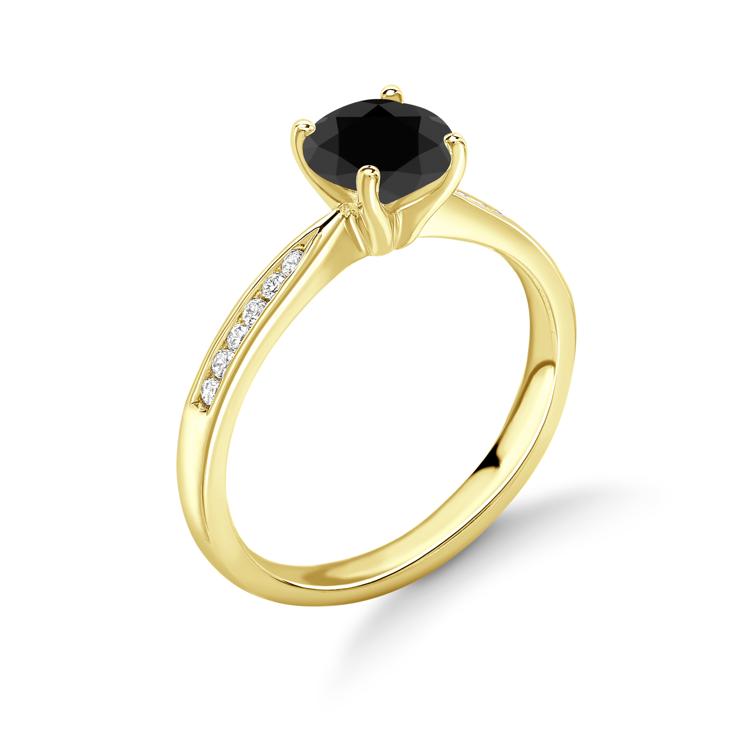4 Claw Set Round Solitaire Black Diamond Ring in UK