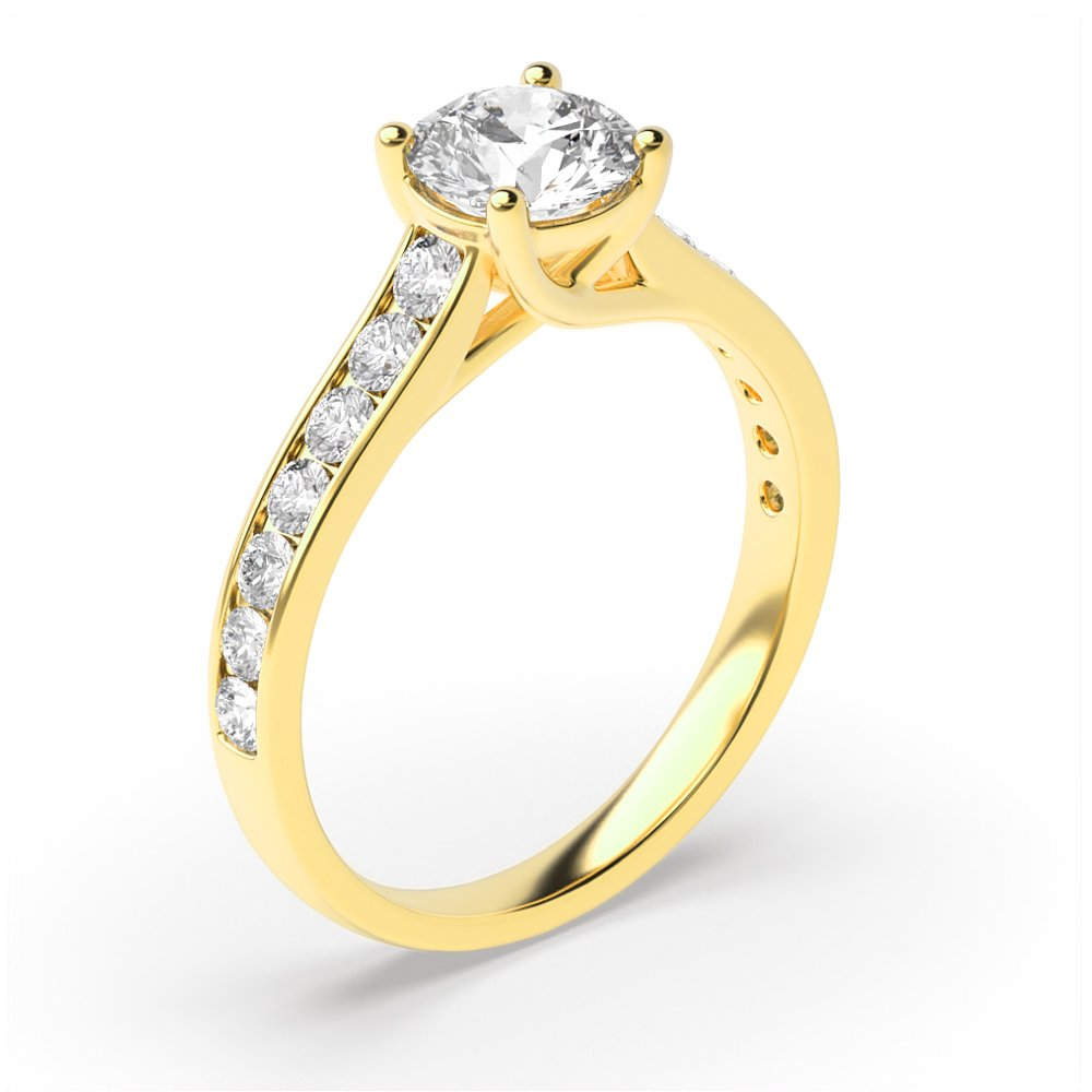 Side Stone On Shoulder Set Round Diamond Engagement Ring Yellow / White Gold