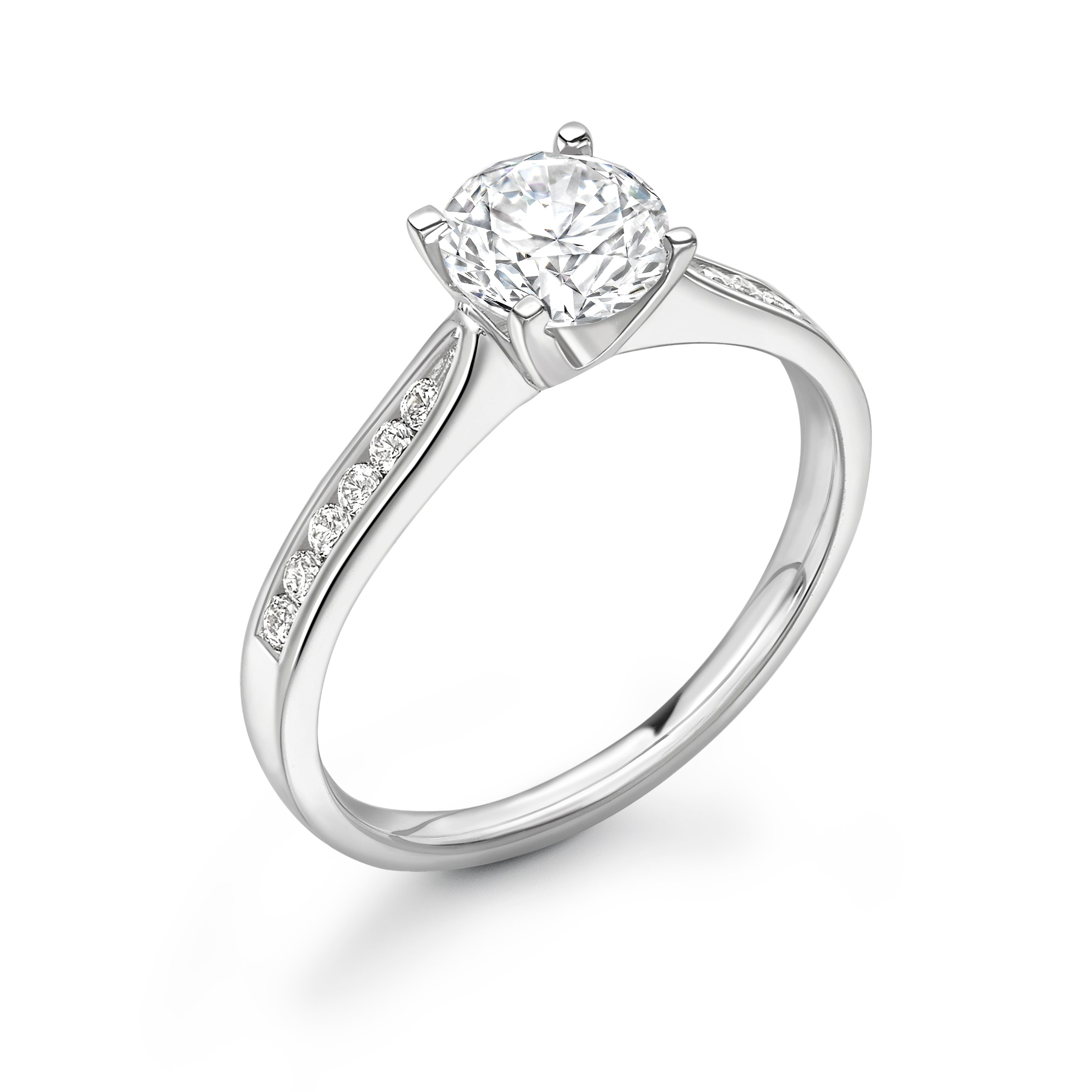 Tapering Shoulder Classic Side Stone Diamond Engagement Rings