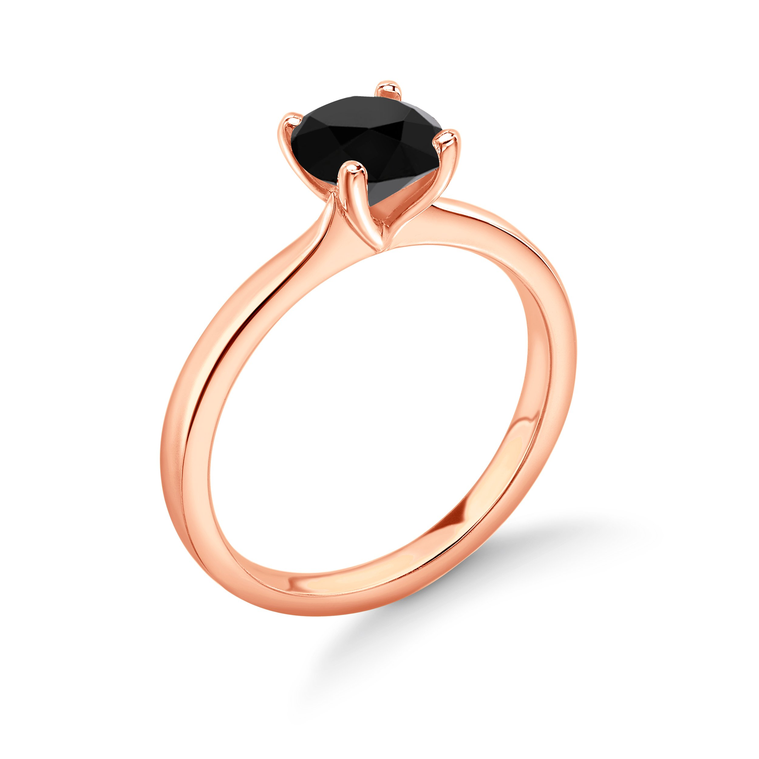 Round Solitaire Black Diamond Engagement Rings White/Rose Gold & Platinum
