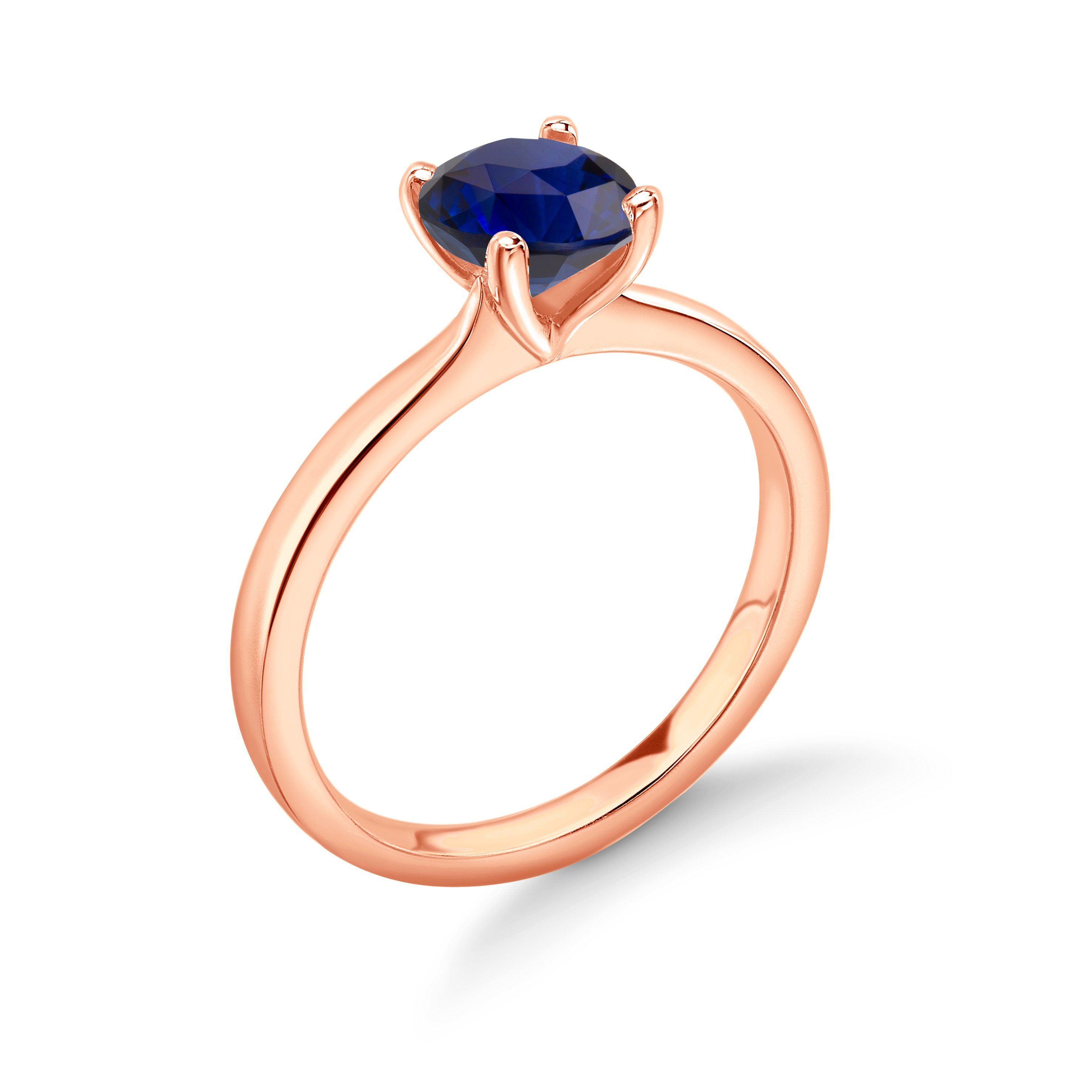 Round Solitaire Sapphire Engagement Rings White/Rose Gold & Platinum