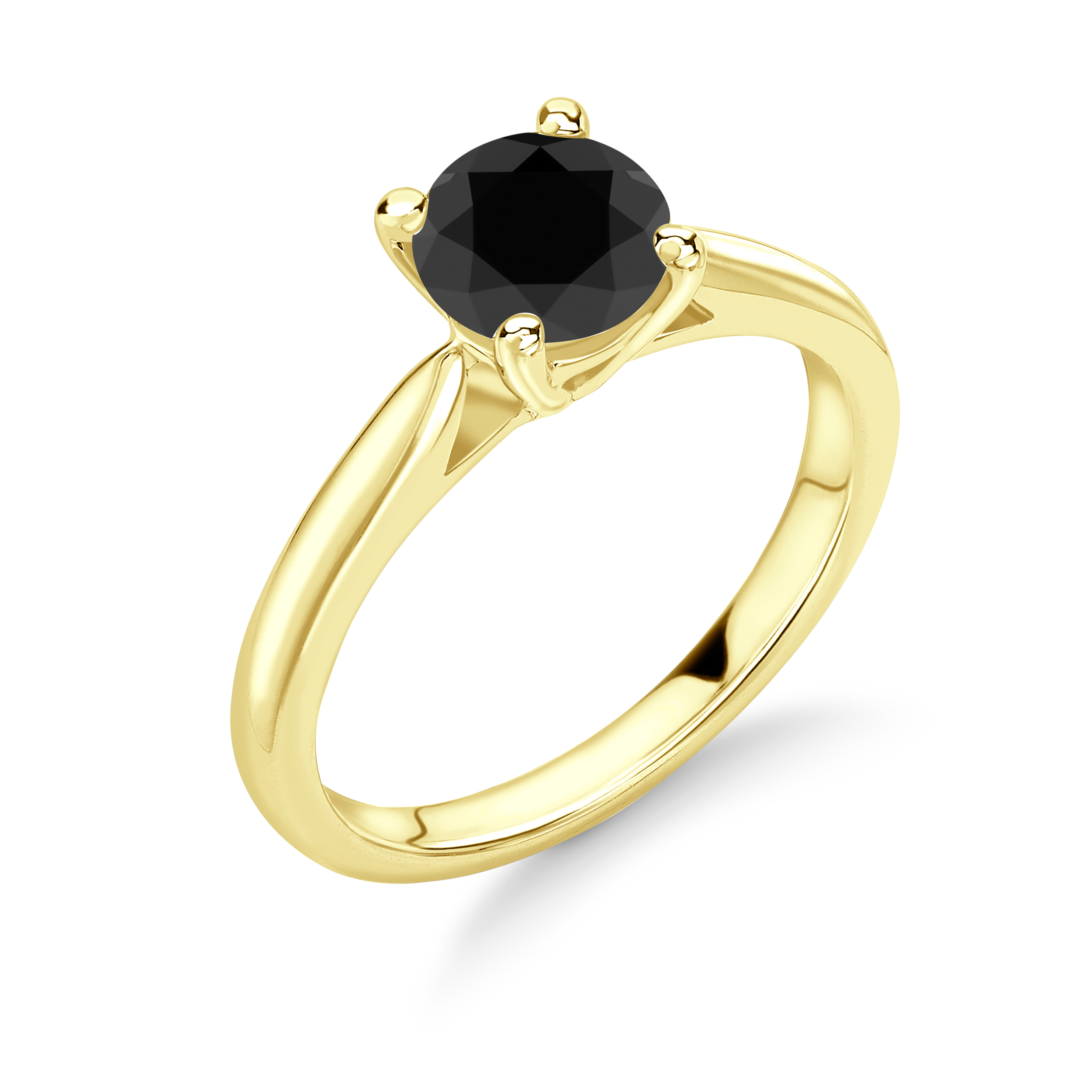 Classic Design 4 Prong Setting Round Solitaire Black Diamond Ring