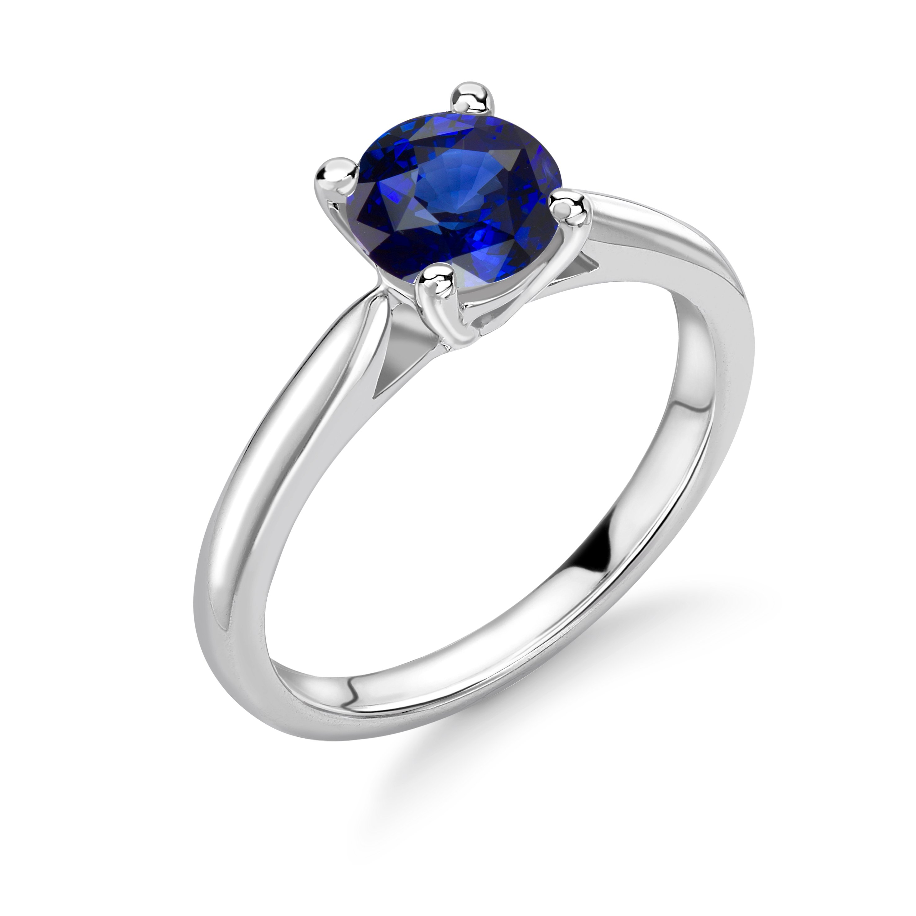 Classci Design 4 Prong Setting Round Solitaire Sapphire Engagement Rings