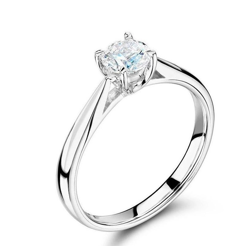 Simple Engagement Ring 4 Prong Setting Round Solitaire Diamond Ring