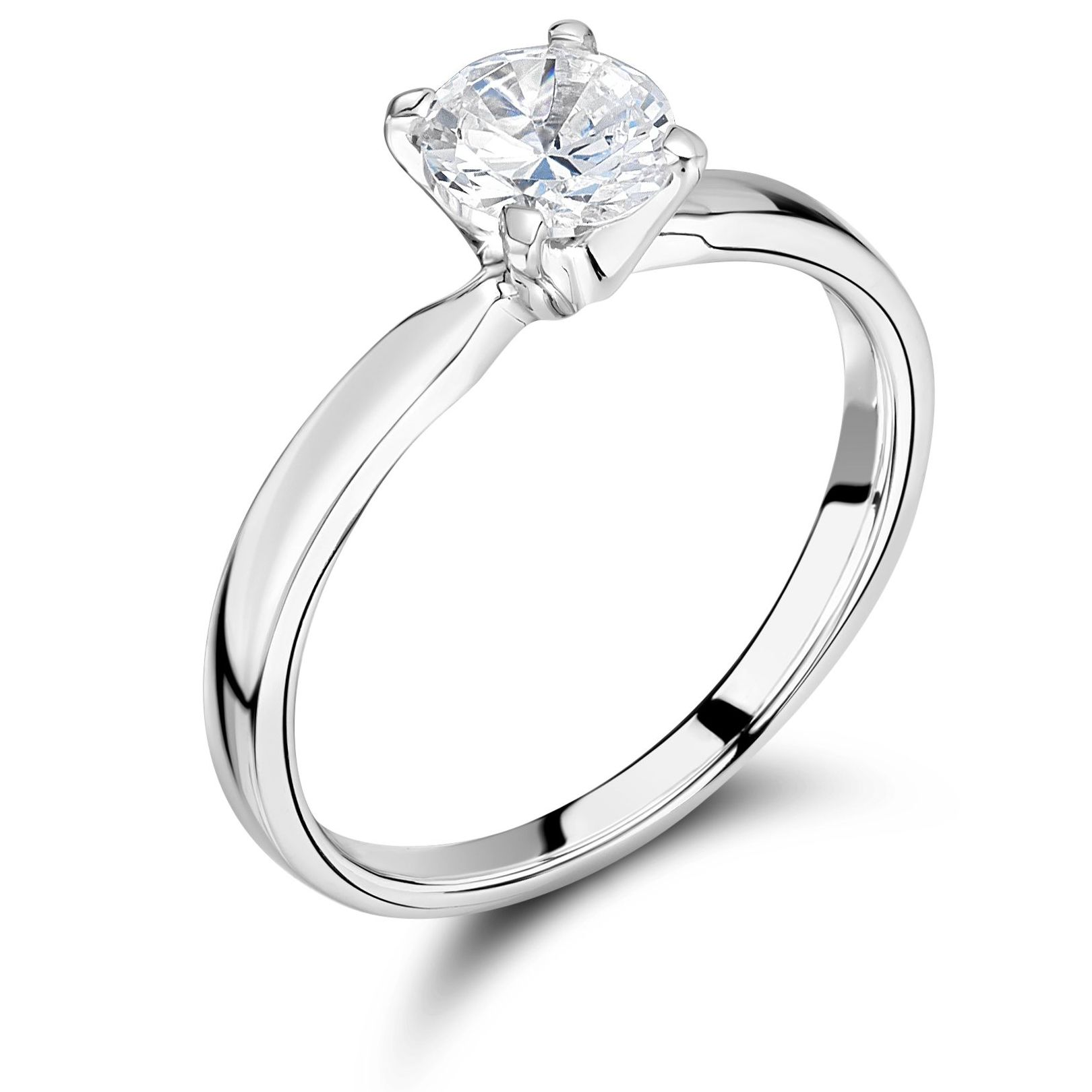 Solitaire Engagement Ring Platinum UK Brilliant Cut Diamond 4 Prongs