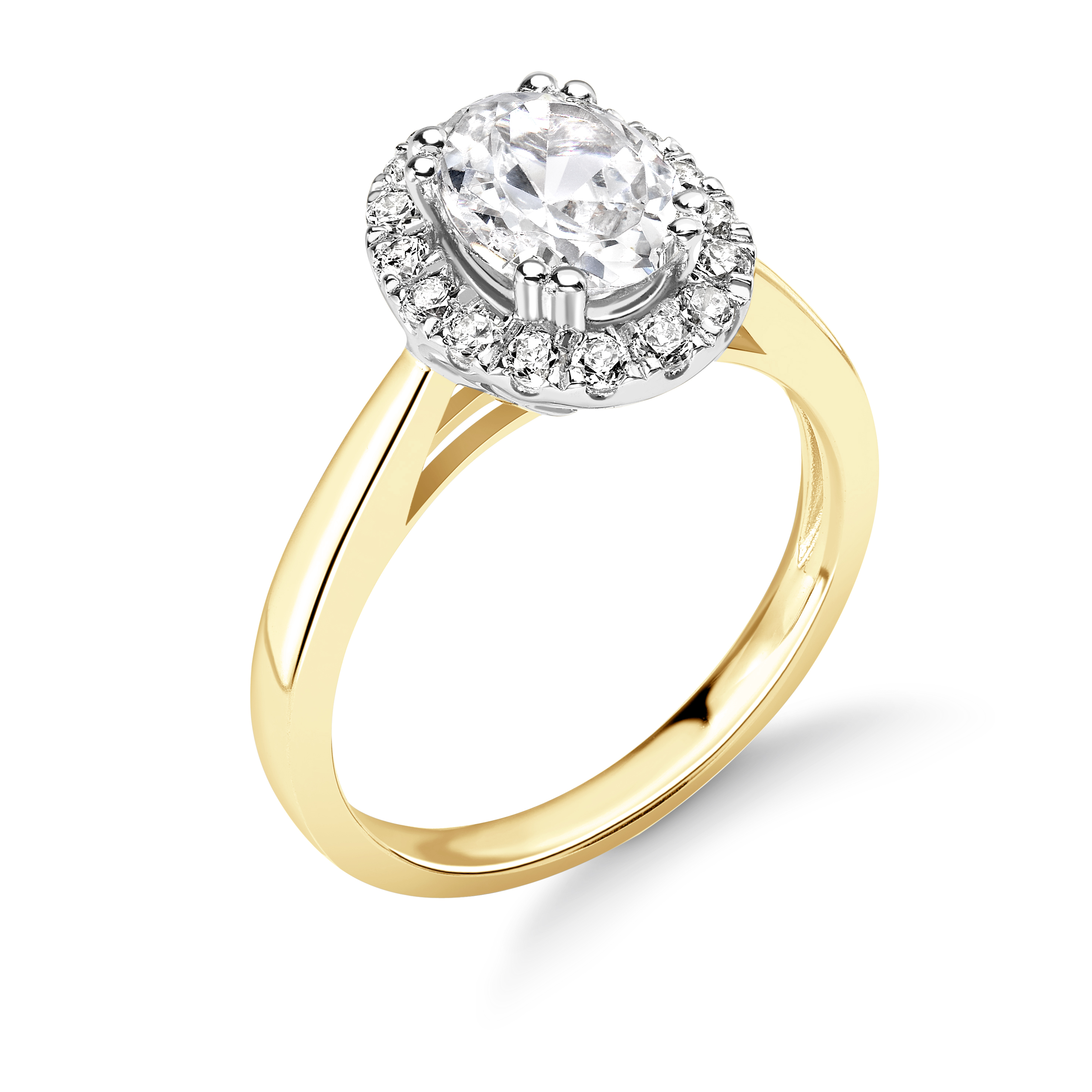 Prong Setting Oval Shape  Halo Diamond Engagement Rings Available in Gold & Platinum